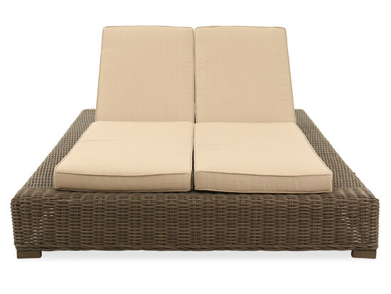 Aluminum Double Chaise Lounge in Aged Teak