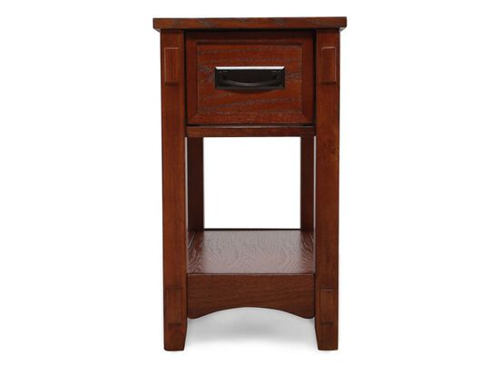 Contemporary One-Drawer Chairside Accent End Table in Medium Brown