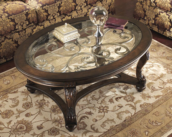 Traditional Oval Cocktail Table in Dark Brown