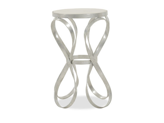 Round Modern End Table in Silver Leaf