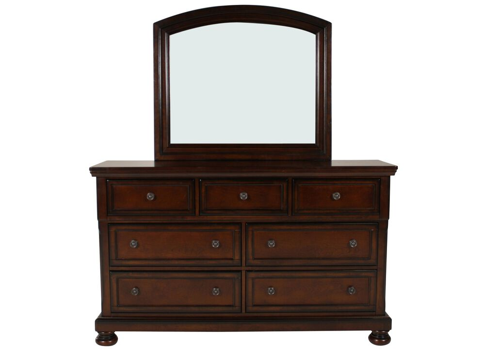 Two-Piece Traditional Paneled Dresser and Mirror in Dark Brown