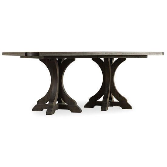 "Corsica Dark Rectangle Pedestal Dining Table W/2-20"" Leaves in Dark Wood"