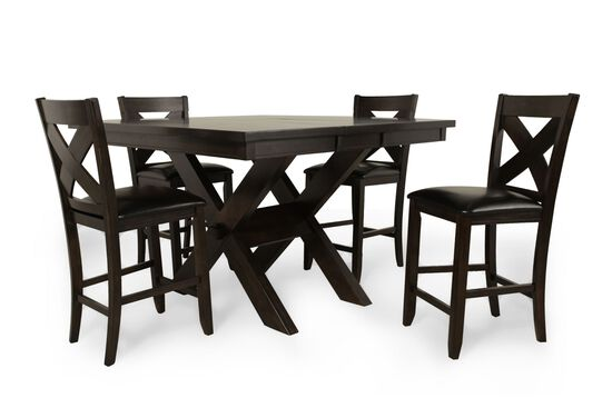 """Five-Piece Traditional 36"""" Pub Set with Concealed Butterfly Leaf in Rich Brown"""
