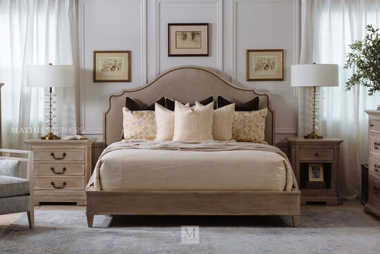 """64"""" Transitional King Upholstered Bed in Brown"""