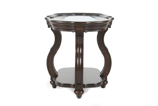 Oval Distressed Contemporary End Table in Deep Cherry