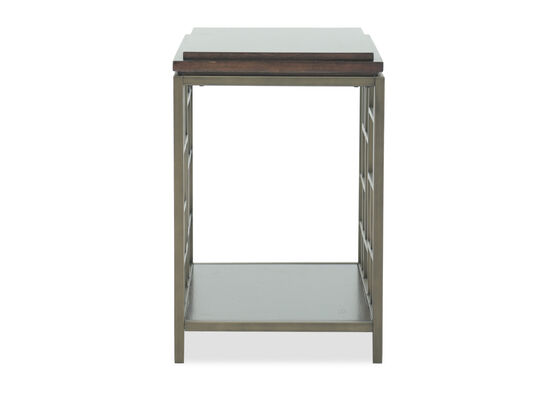 Geometric-Shelf Contemporary Chairside End Tablein Gold