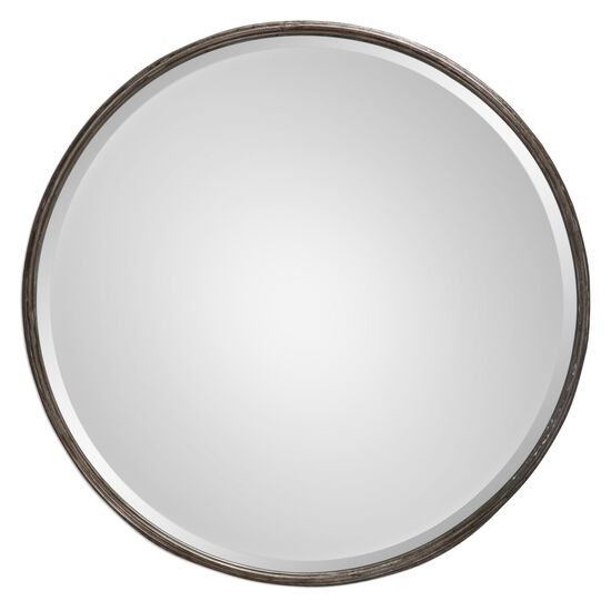 "24"" Hammered Frame Round Mirror in Burnished Gray Wash"