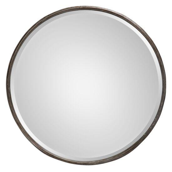 """24"""" Hammered Frame Round Mirrorin Burnished Gray Wash"""