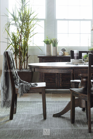 Seven-Piece Button-Tufted Traditional 48''  to 66'' Dining Set in Dark Pine