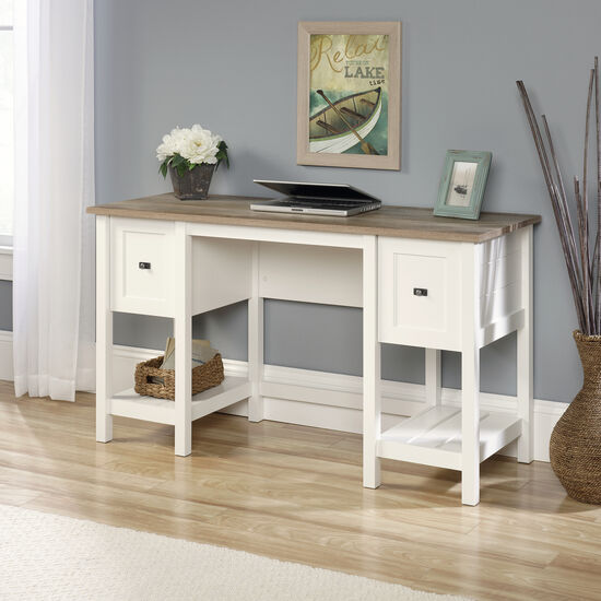 """54"""" Traditional Two-Drawer Desk in Soft White"""