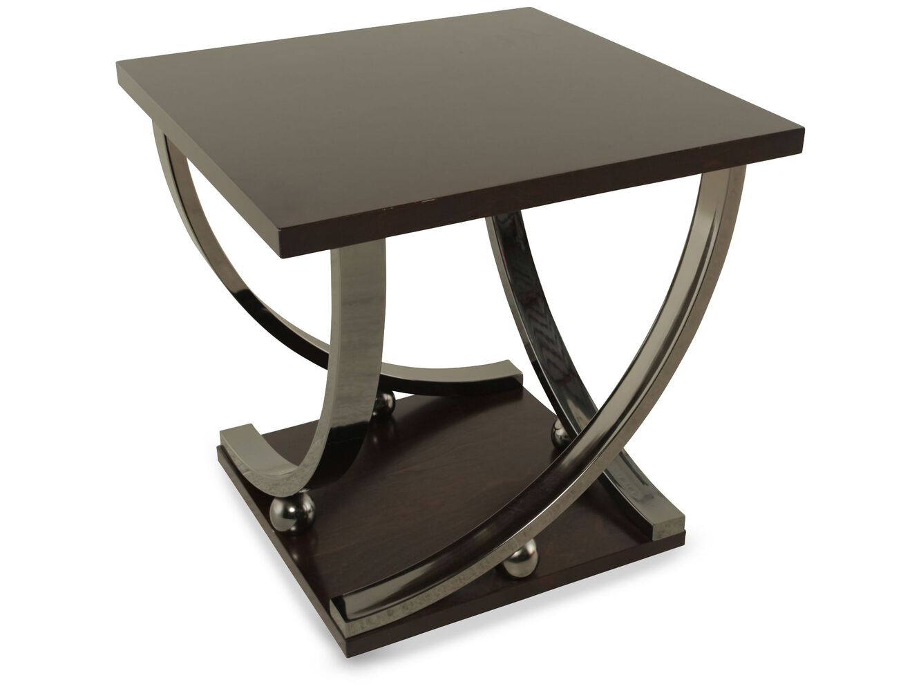 Images Square Ball Accented Contemporary End Table Nbsp In Dark Merlot