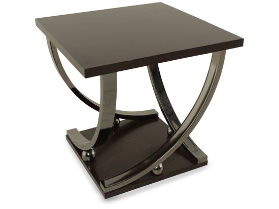 Square Ball-Accented Contemporary End Table in Dark Merlot