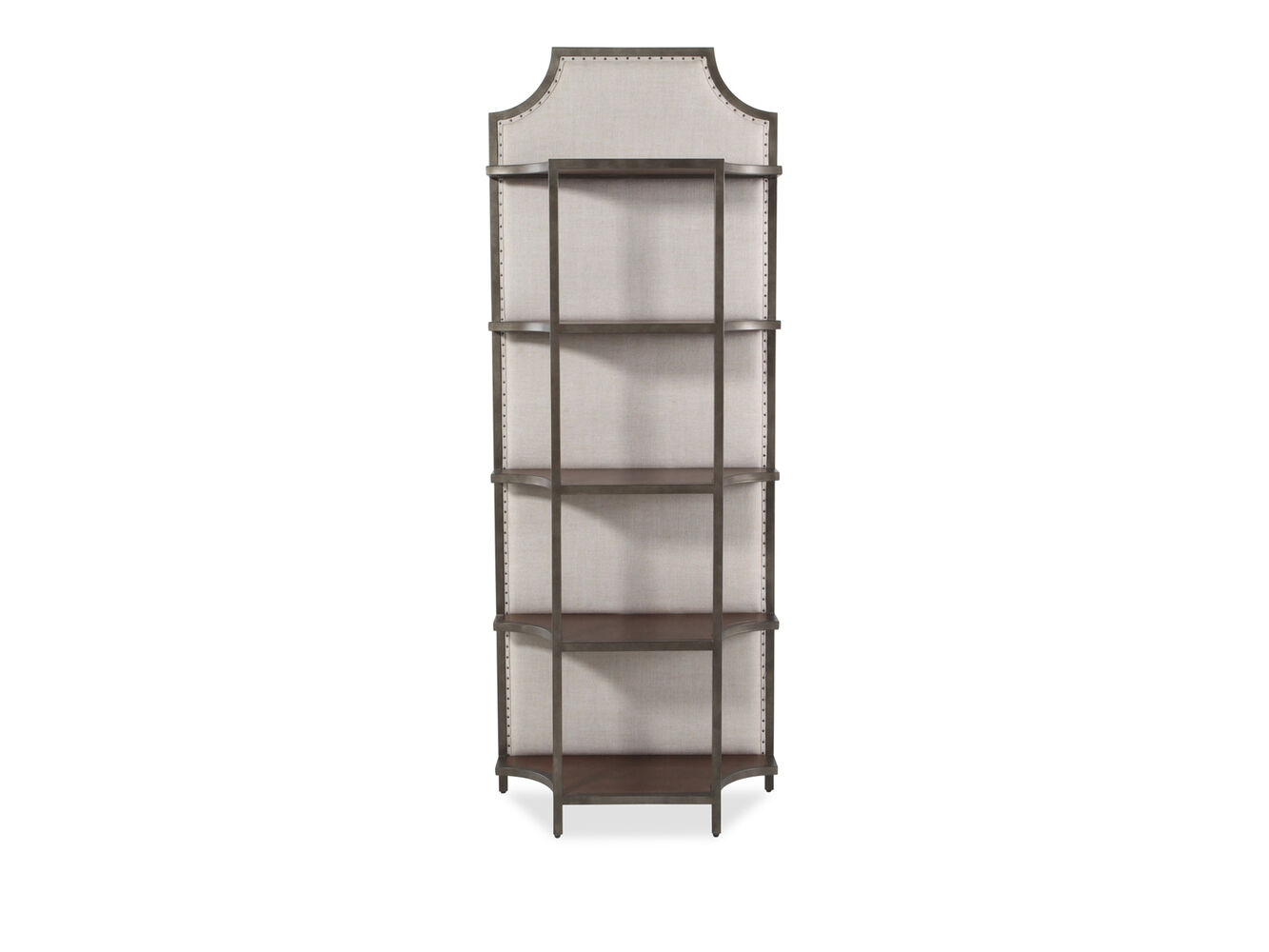 nailhead accented traditional 84 etagere in brown mathis brothers furniture. Black Bedroom Furniture Sets. Home Design Ideas