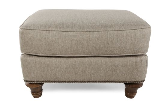 "Nailhead Accented Traditional 27"" Ottoman in Cream"