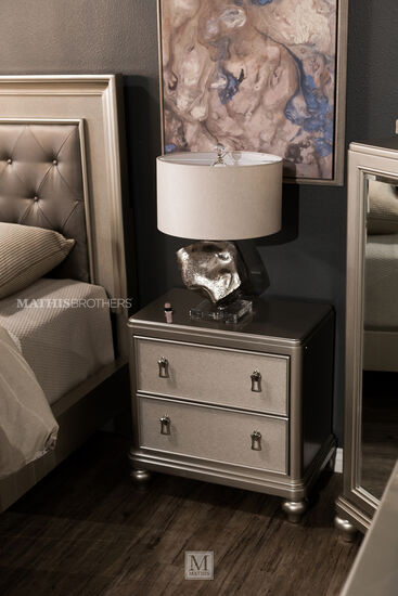 "29"" Transitional Two-Drawer Nightstand in Platinum"