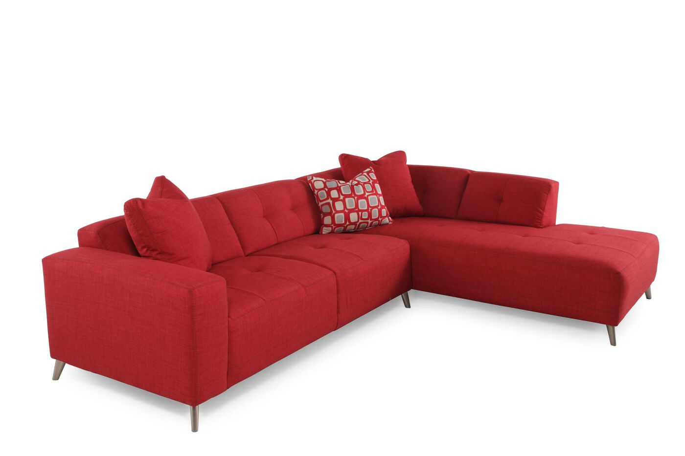 Two piece contemporary 110quot sectional in red mathis for 2 piece red sectional sofa