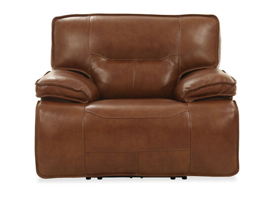 """Contemporary Leather 47"""" Power Recliner in Chestnut"""