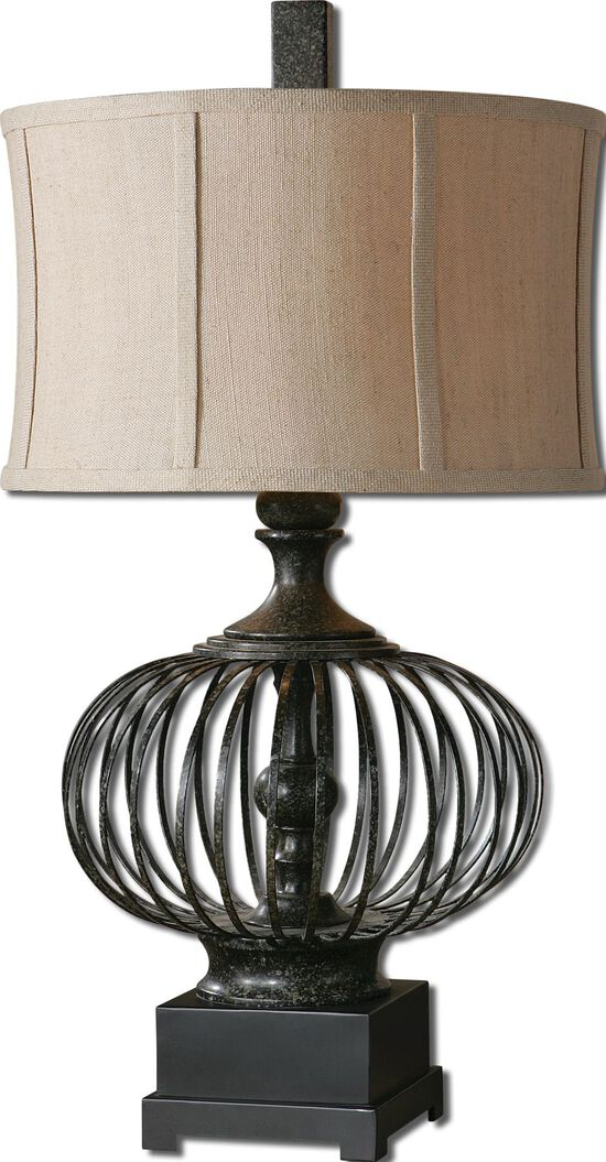 Caged Drum-Shade Lamp in Rustic Black
