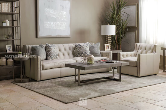"""Button-Tufted 96"""" Leather Sofa in White"""
