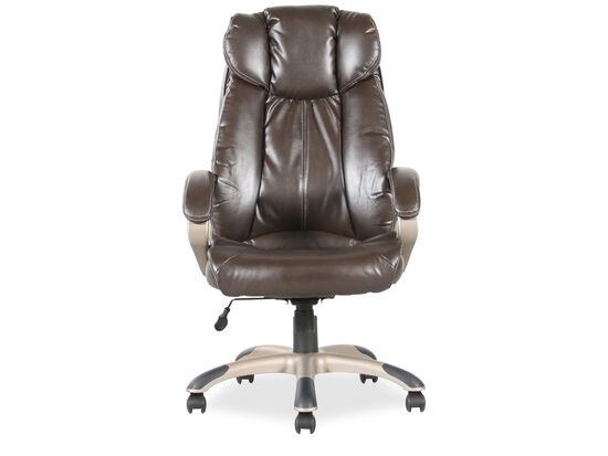 Pleated Leather Executive Swivel Tilt Chair in Brown