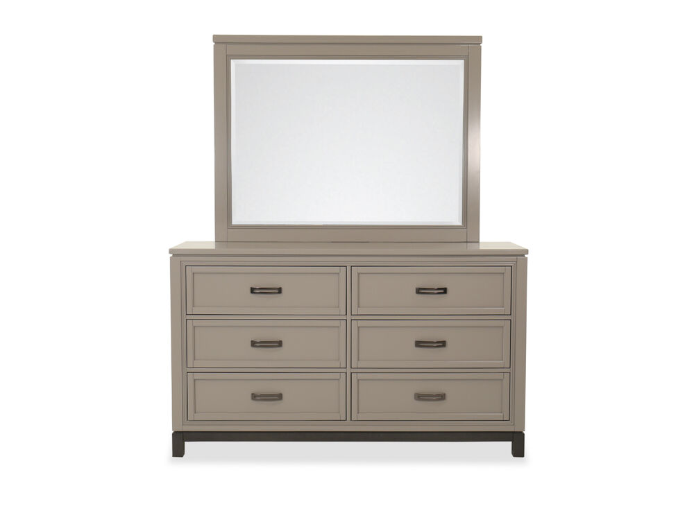 Two Piece Transitional Six Drawer Dresser And Mirror In Light Gray