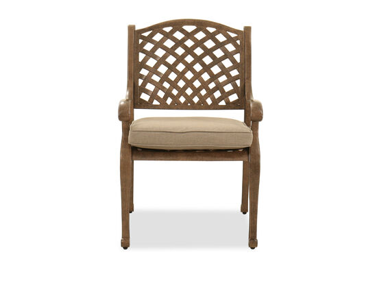 Traditional Lattice-Back Dining Chair in Dark Brown