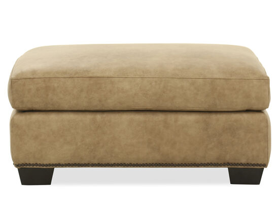 """Nailhead Accented Contemporary 35"""" Leather Ottoman in Brown"""