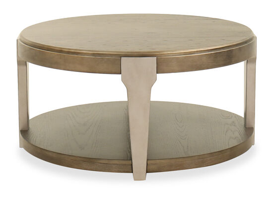 Round Contemporary Cocktail Table in Brown