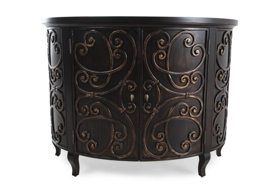 34'' Traditional Scrolled Demilune Chest in Brown