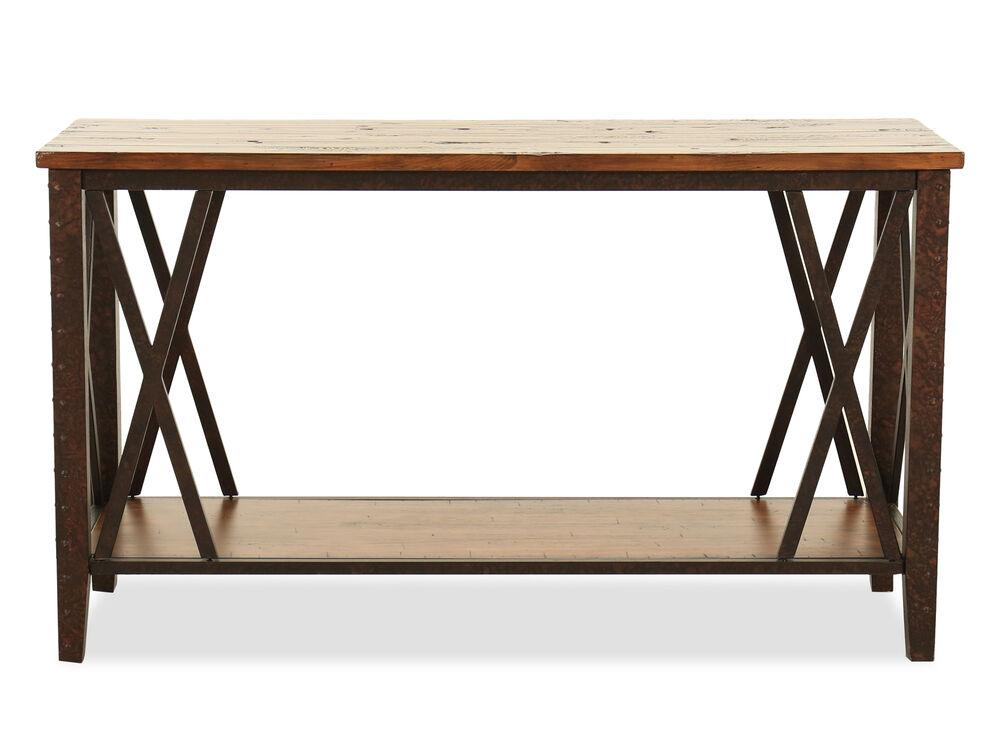 Cross-Braced Casual Sofa Table in Brown