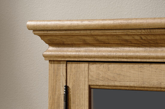 Two-Glass Door Transitional Entertainment Credenza in Scribed Oak