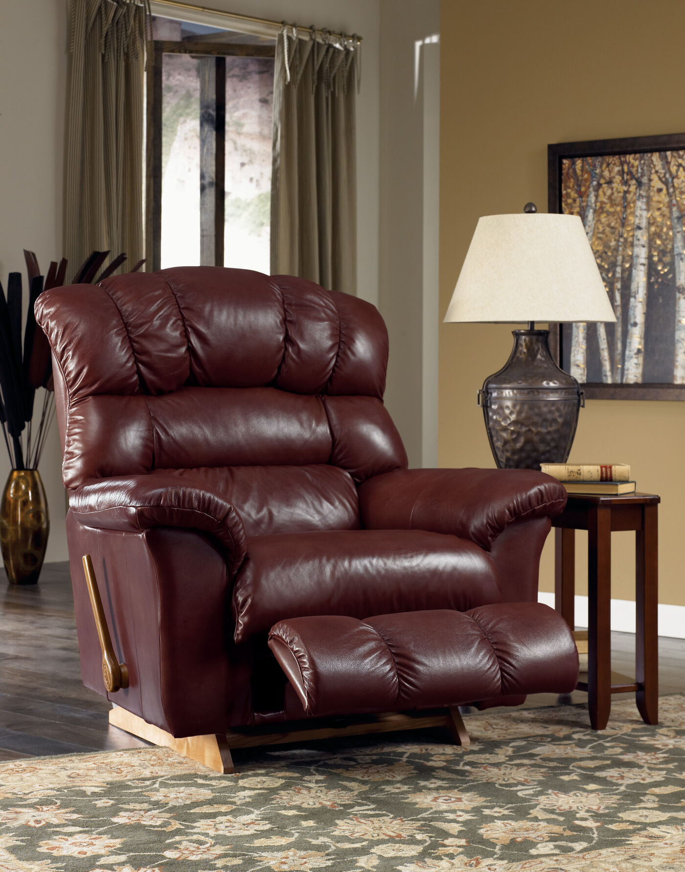 casual chairs for living room casual leather 46 quot recliner in bordeaux mathis brothers 21331