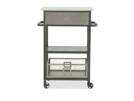 "Industrial 25"" Serving Cart in Gray"