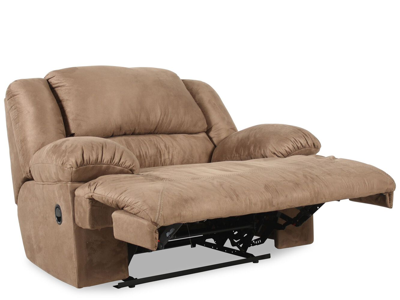 oversized contemporary microfiber 59 recliner in mocha mathis brothers furniture. Black Bedroom Furniture Sets. Home Design Ideas