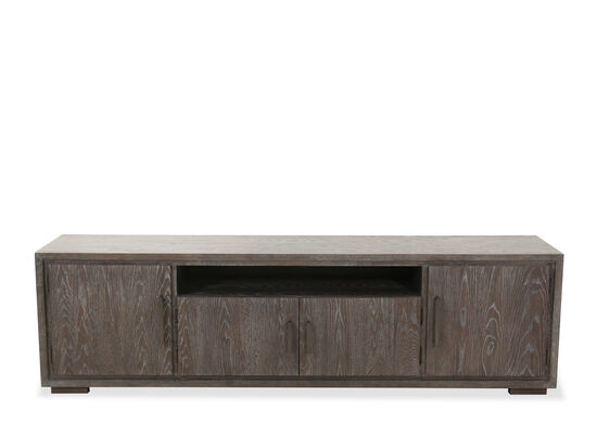 Four-Door Contemporary Media Console in Cerused Gray