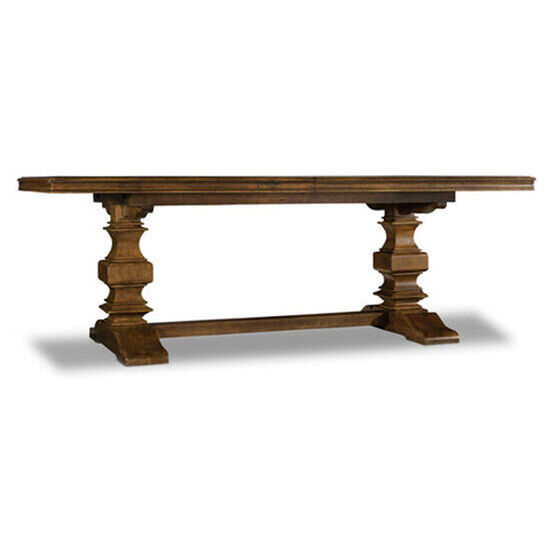 "Archivist Trestle Table W/2-18"" Leaves in Dark Wood"