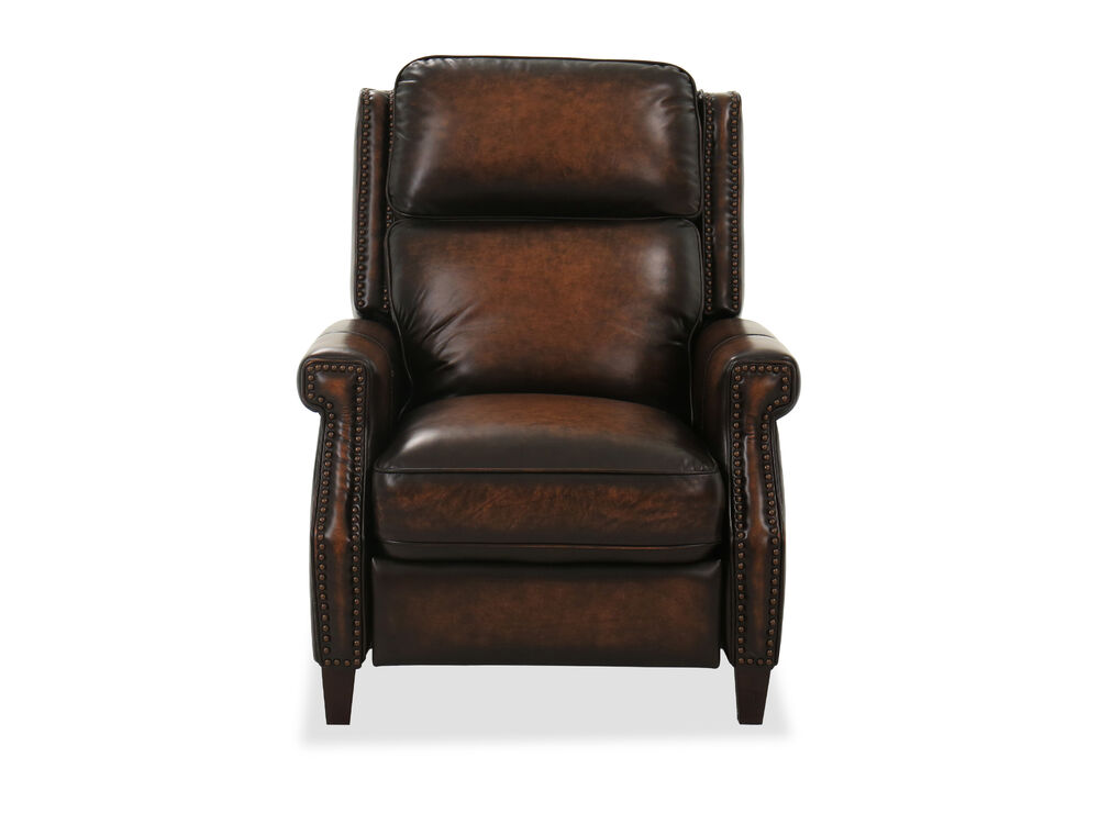 Nailhead Trimmed Leather Power Headrest Recliner in Dark Brown