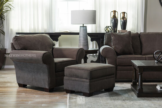 """Casual 22"""" Ottoman in Brown"""