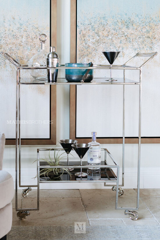 "Transitional 37"" Rolling Bar Cart in Nickel"