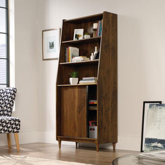 Sliding Door Mid-Century Modern Wide Bookcase in Grand Walnut