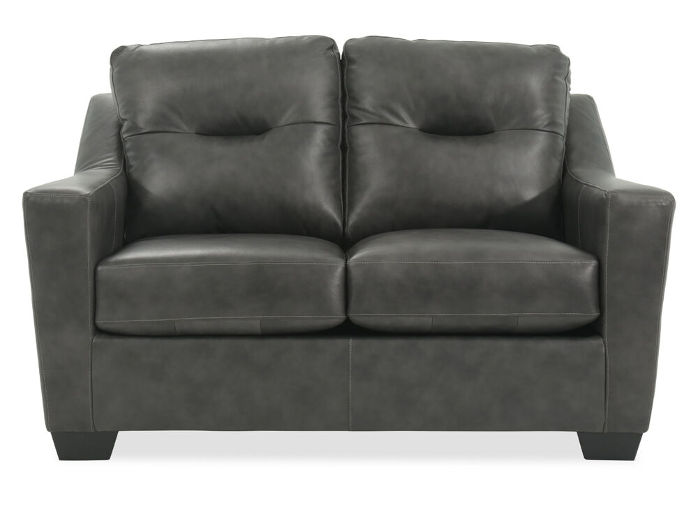 Tufted Leather 60 Loveseat In Charcoal Mathis Brothers Furniture