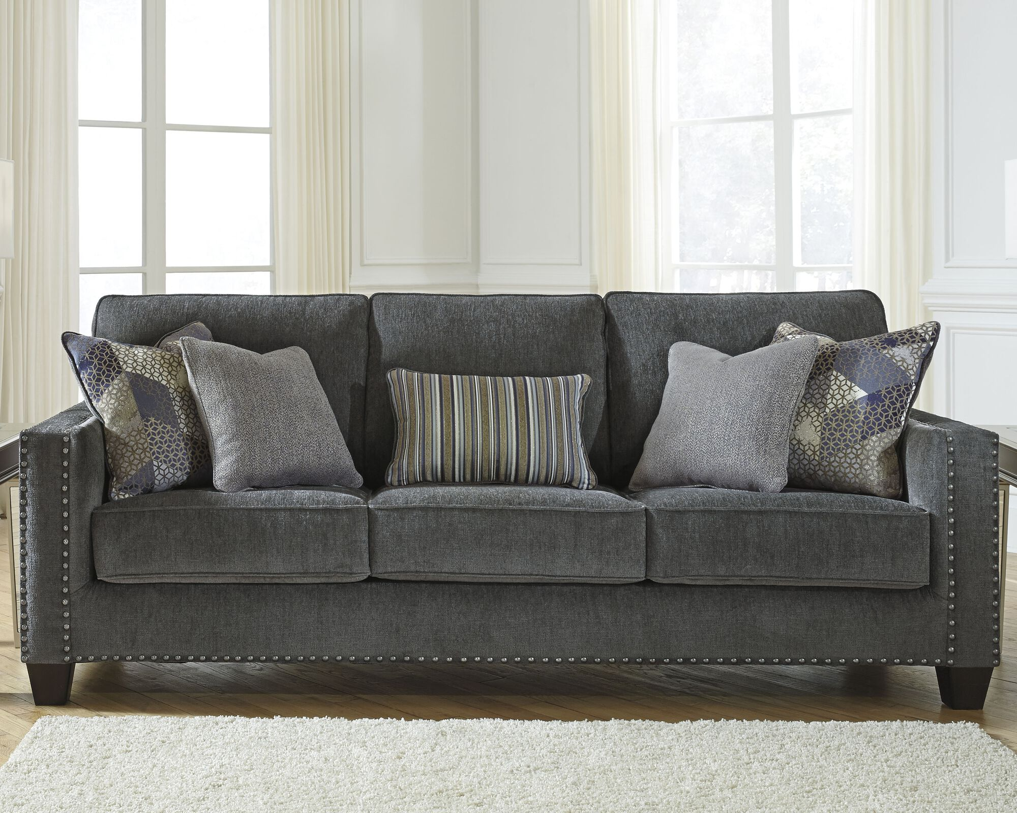 """Contemporary 5"""" Nailhead-Accented Sofa in Smoke  Mathis Brothers"""