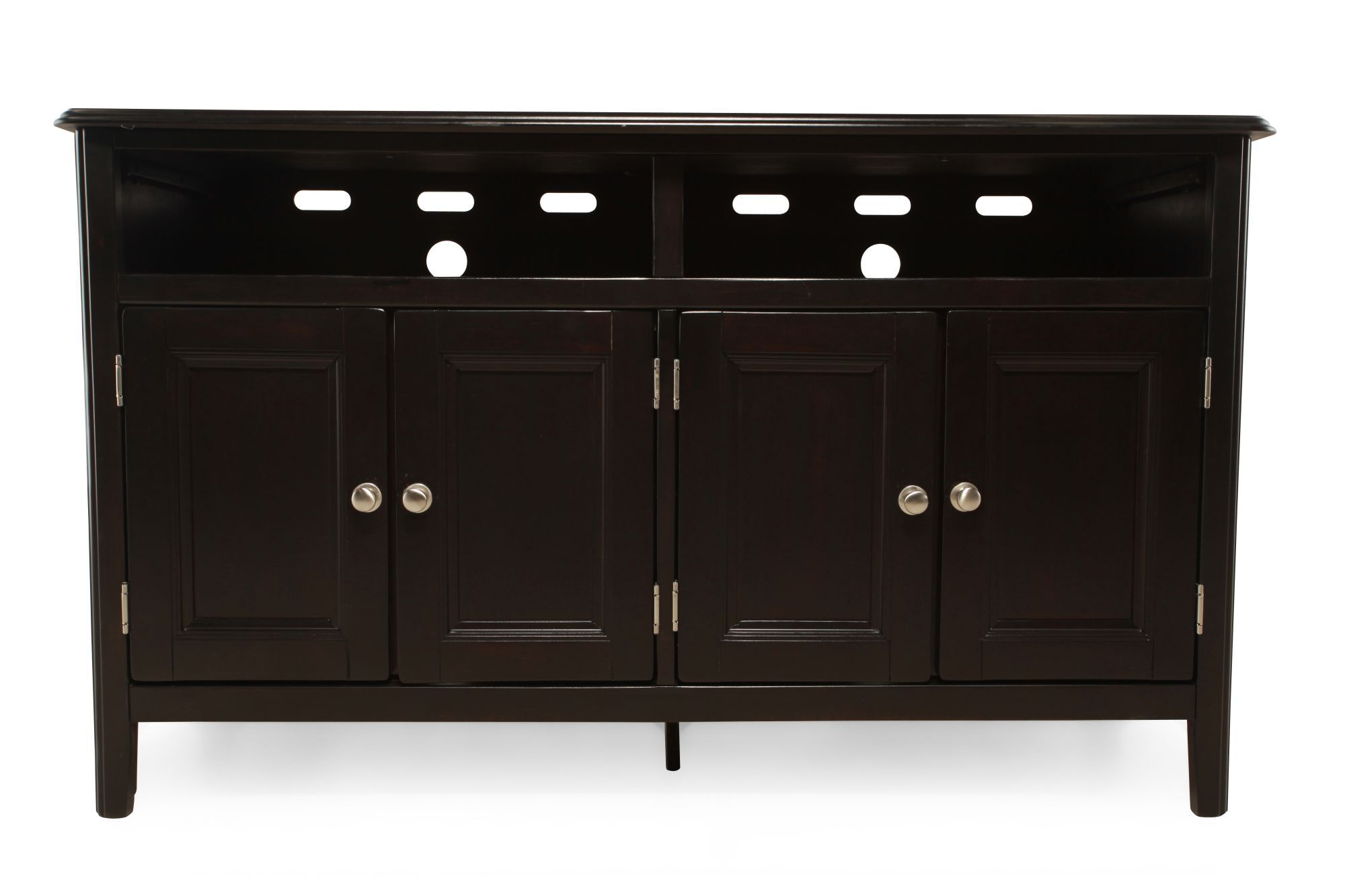 Adjustable Shelf Contemporary Tv Console In Black Mathis Brothers