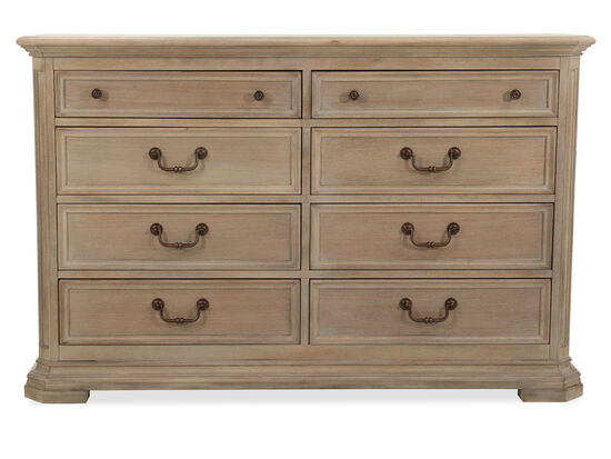 Eight-Drawer Transitional Dresser in Light Brown