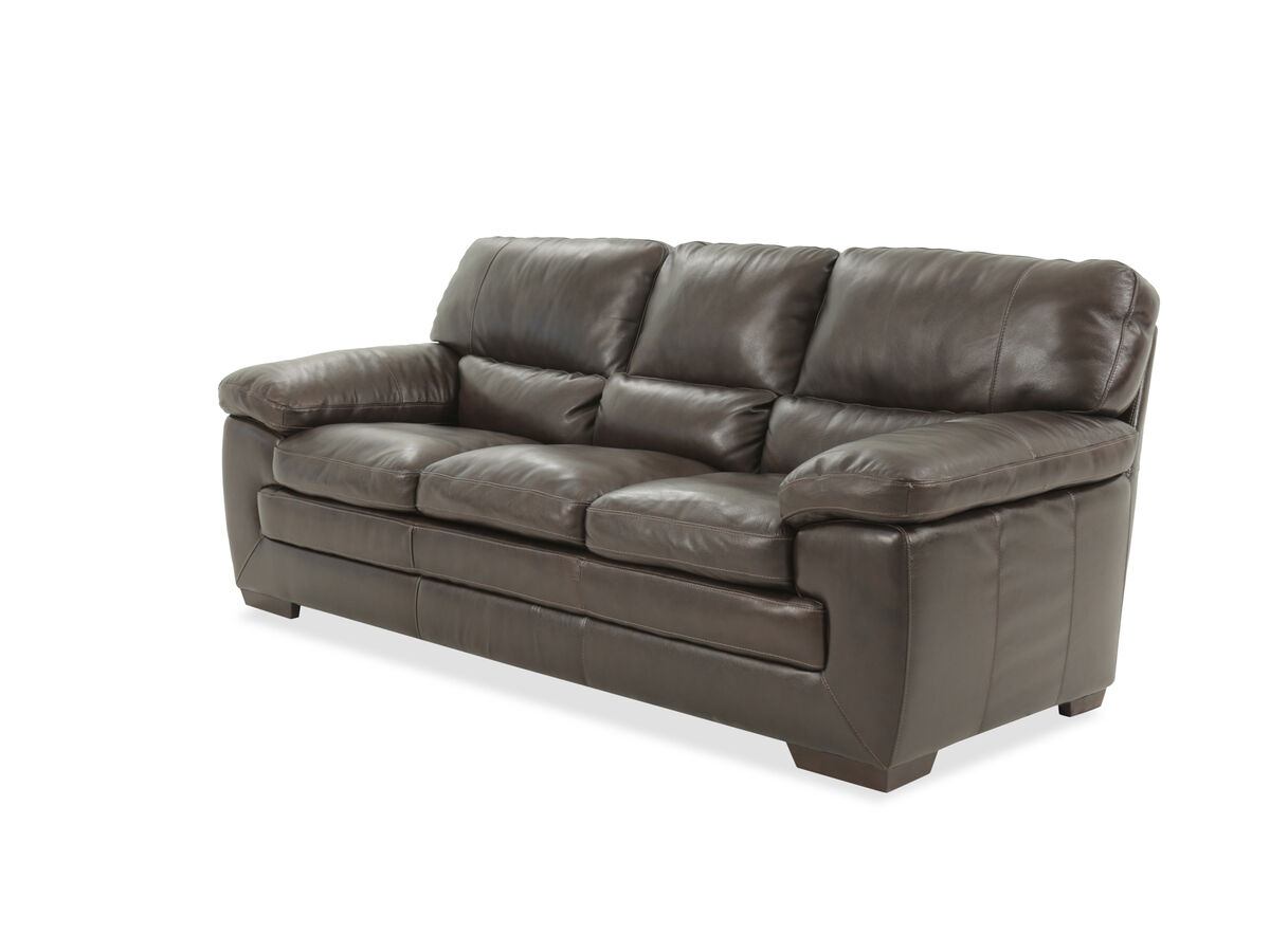 87 Leather Sofa In Dark Brown Mathis Brothers Furniture
