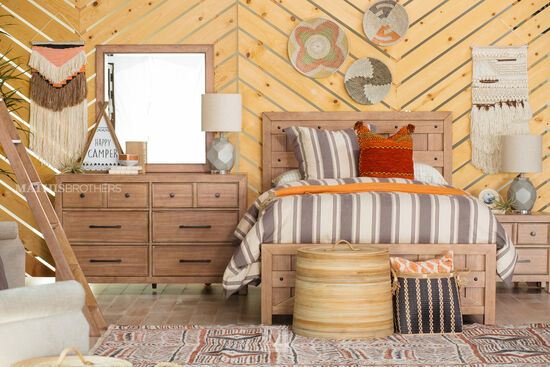 Eight-Drawer Contemporary Youth Dresser in Light Brown