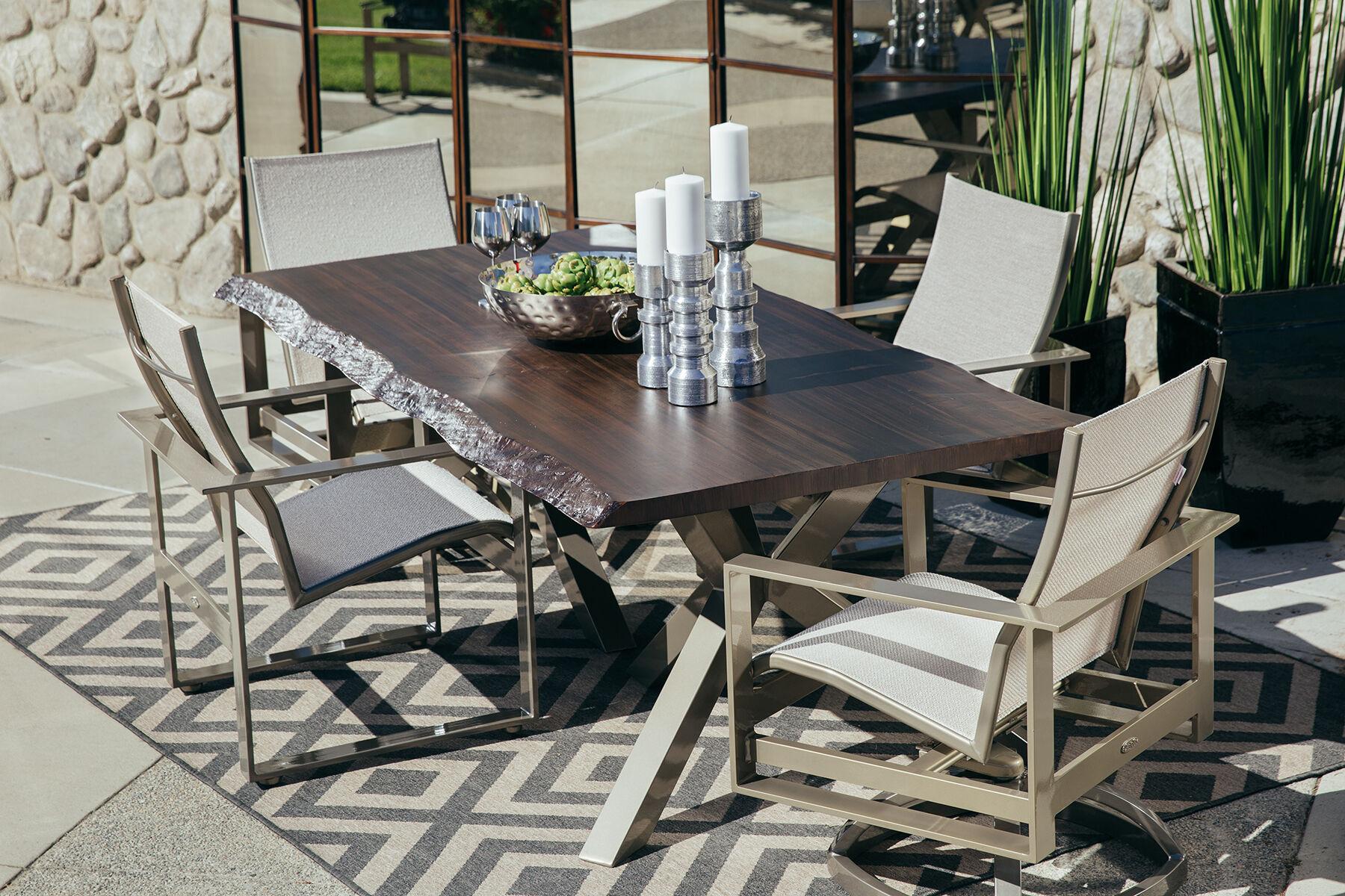 Tripod Pedestal Aluminum Rectangular Dining Tableu0026nbsp;in Dark Brown