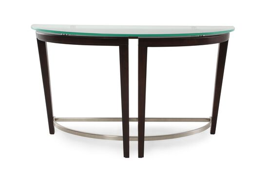 Tempered Glass Top Contemporary Sofa Table in Dark Hazelnut