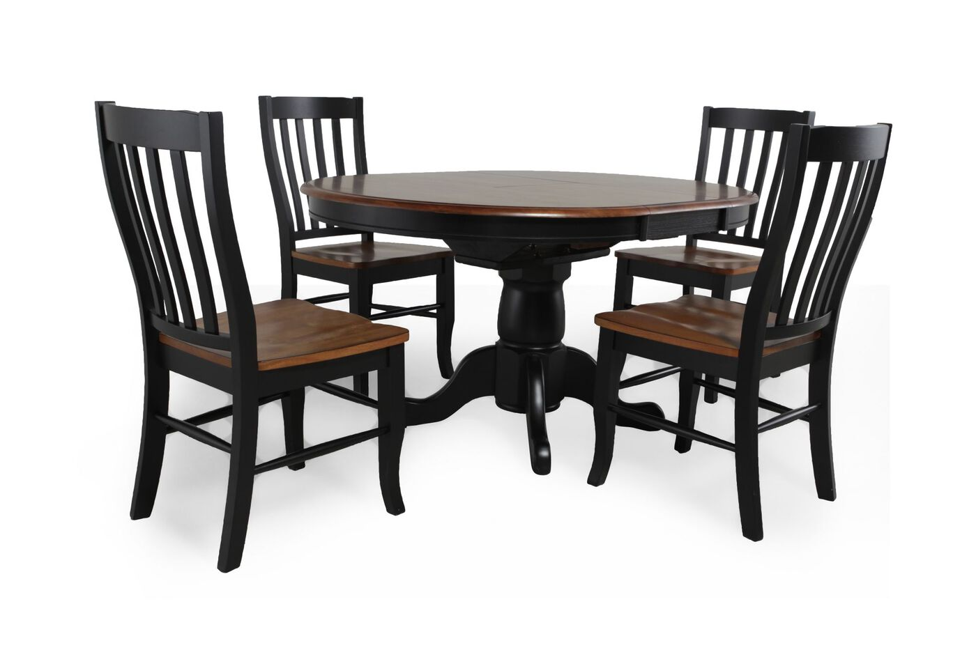 Five piece traditional round extension 42 39 39 to 57 39 39 dining for Traditional round dining room sets