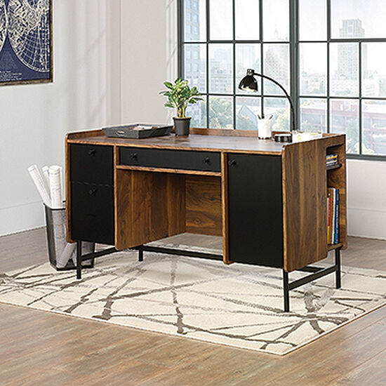 "54"" Modern Two-Drawer Desk in Grand Walnut"